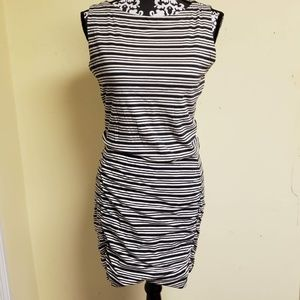 Athleta Ruched Sides Striped Sleeveless Dress, SP